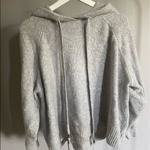 H&M fuzzy pull over with hood//long drawn-strings